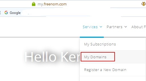my.freenom.com my domain