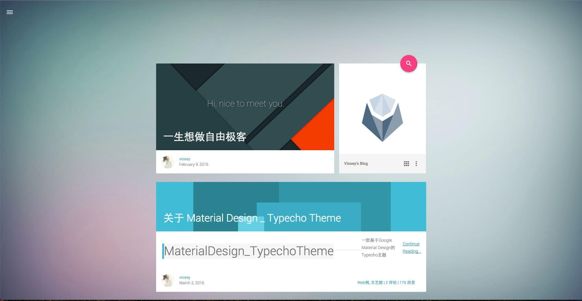 typecho主题material