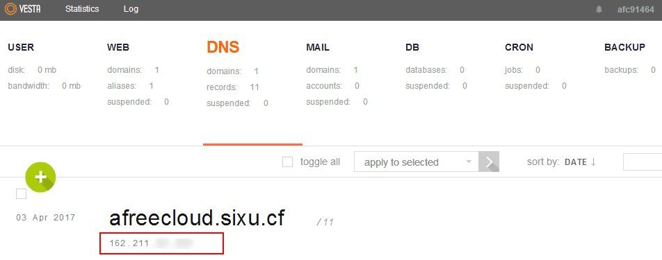 在dns选项下查看ip地址